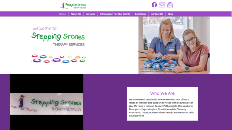 Rebuilt Website for Stepping Stones Therapy Services of Bunbury and Collie